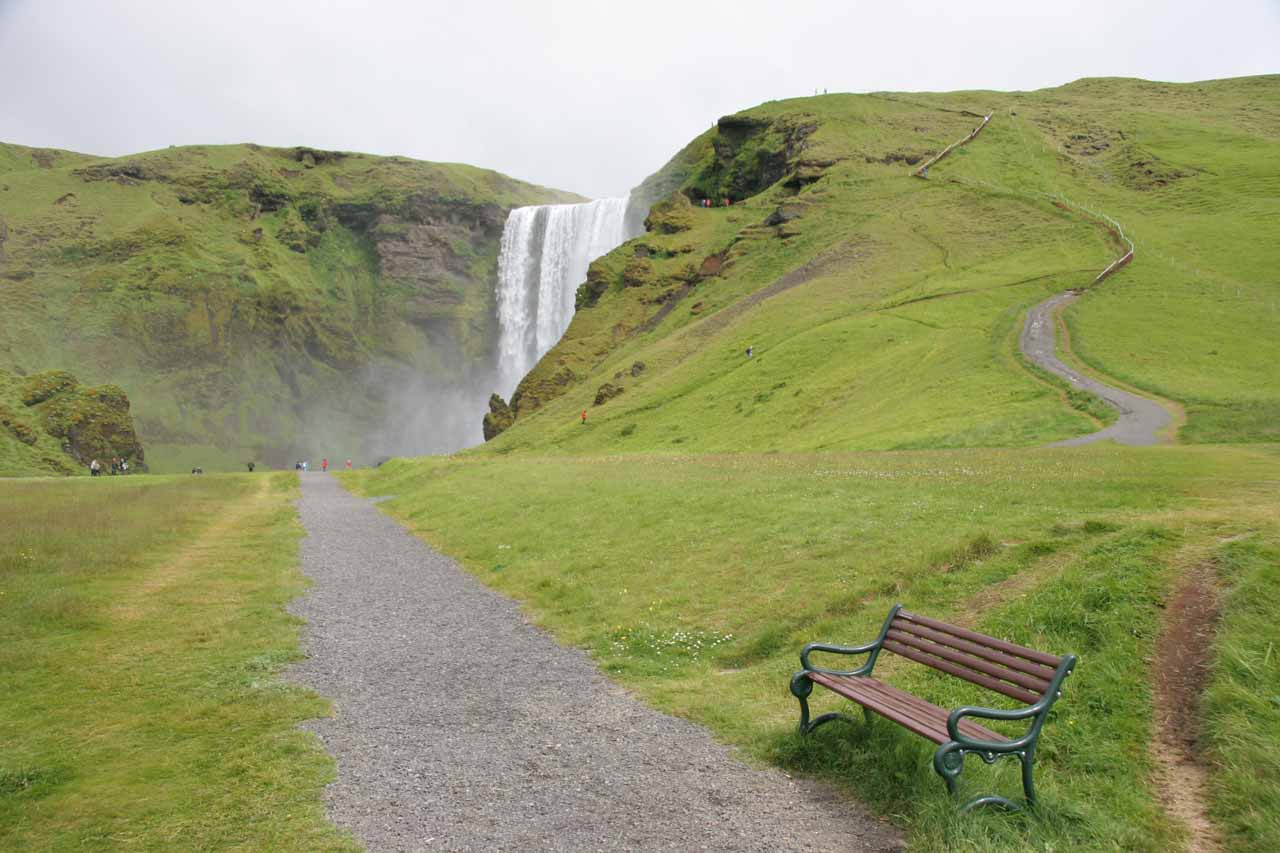 If you didn't walk on the river's bank, then this would be the official trail to the base of Skogafoss