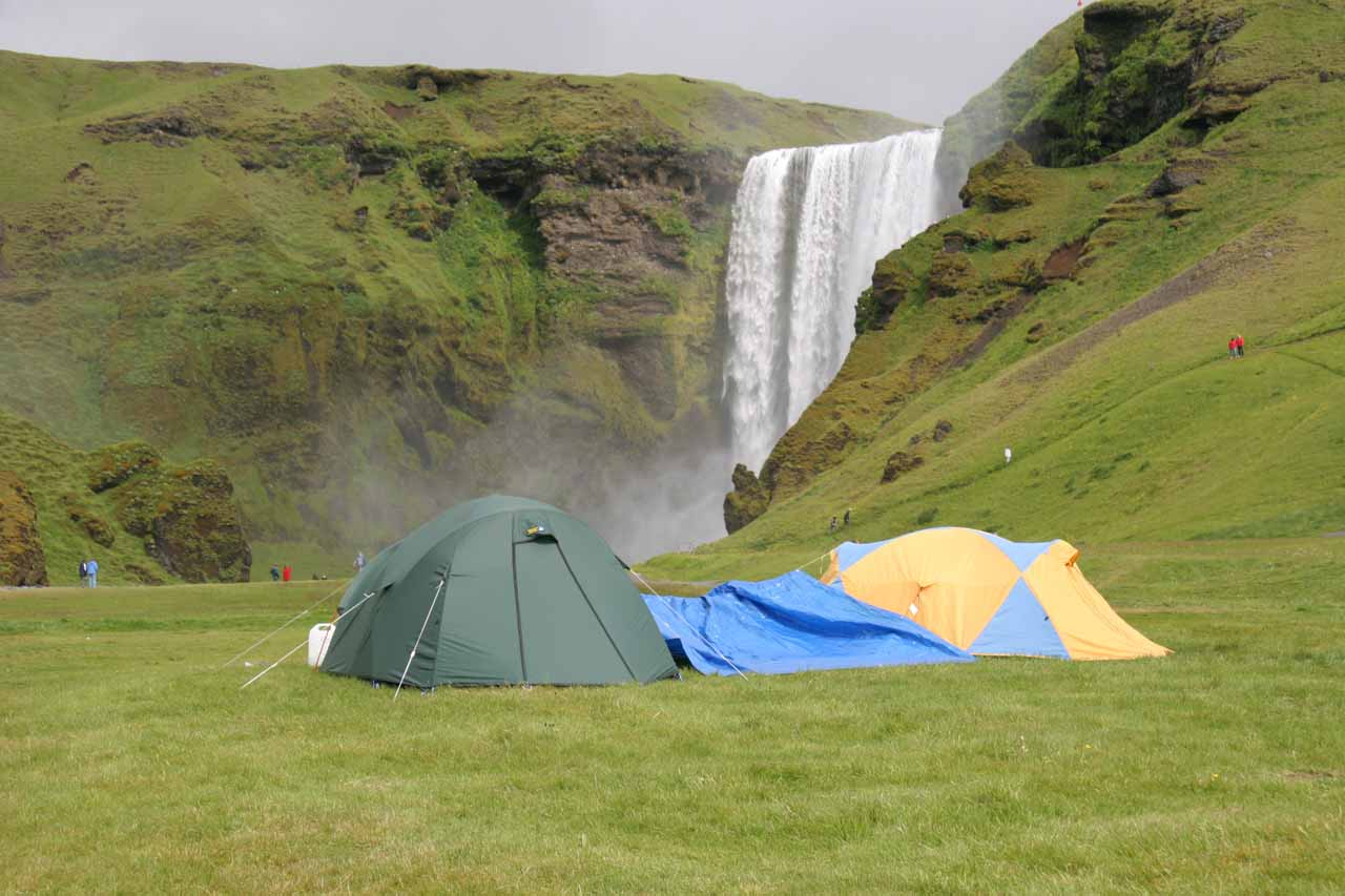 There were definitely campers around Skogafoss