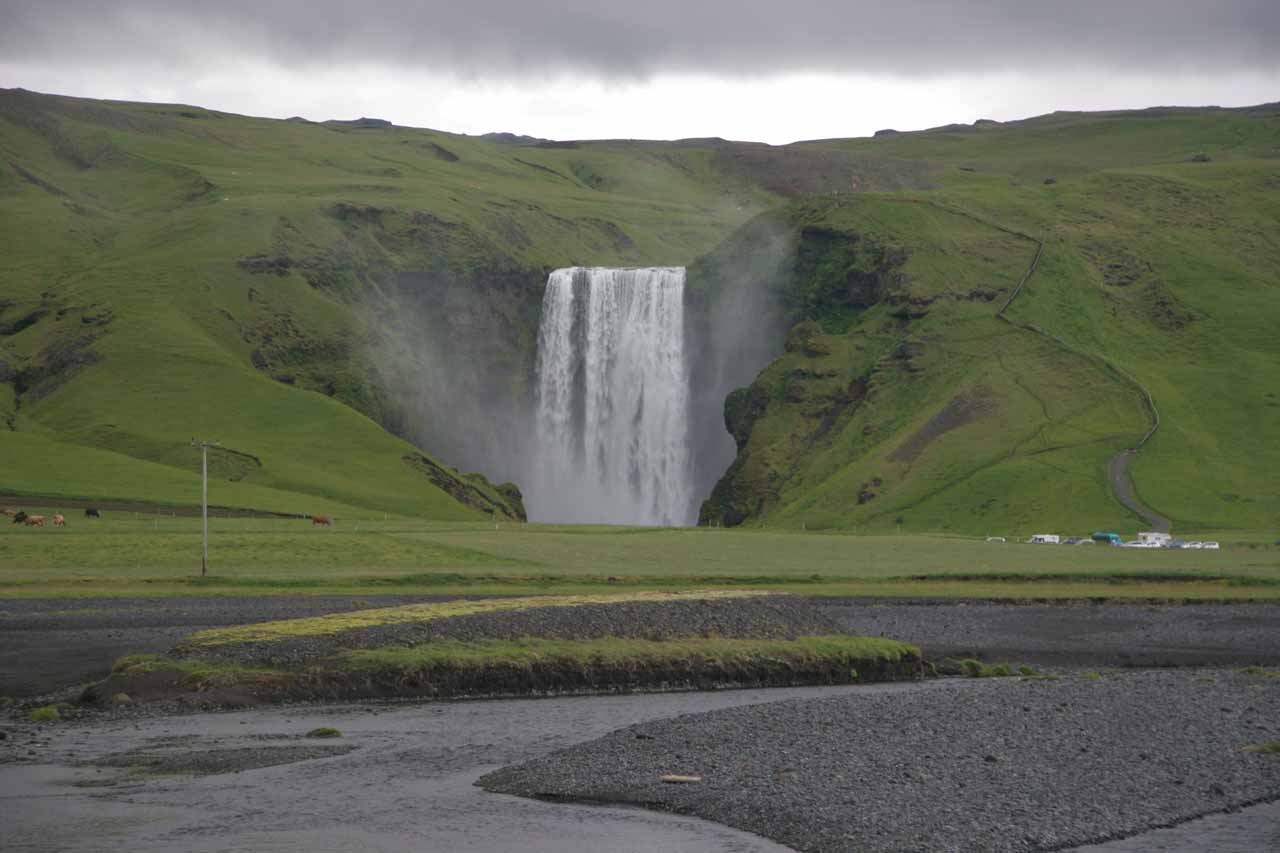 Looking in the distance at Skogafoss from the other side of the river