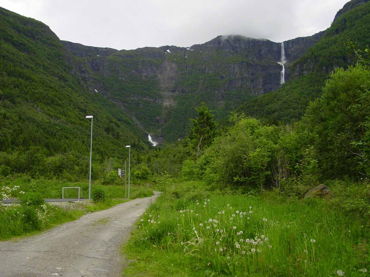 View of the waterfall pair Skrikjofossen (right) and Opofossen (left) seen from the school in Elvedalen