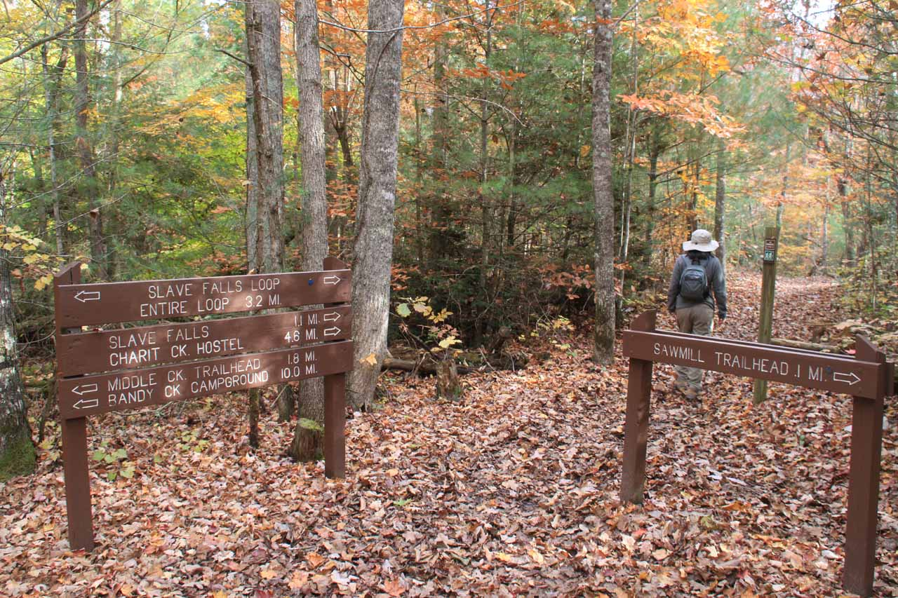 Trail junction with the connecting trail with the alternate trailhead