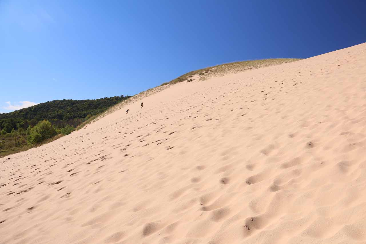 On a steep part of the sand dunes at Sleeping Bear Dunes Climb
