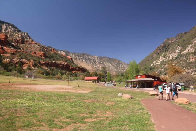 Slide_Rock_SP_013_04132017 - Entering a big clearing area at Slide Rock State Park where there were historical relics, buildings, and some shops along the way to the water play area in Oak Creek