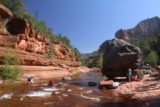 Slide_Rock_SP_068_04132017 - Looking downstream along Oak Creek in the direction of Slide Rock with the context of red cliffs and that giant boulder
