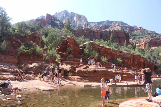 Slide_Rock_SP_097_04132017 - Looking across Oak Creek towards some impressive red cliffs towering over Slide Rock State Park
