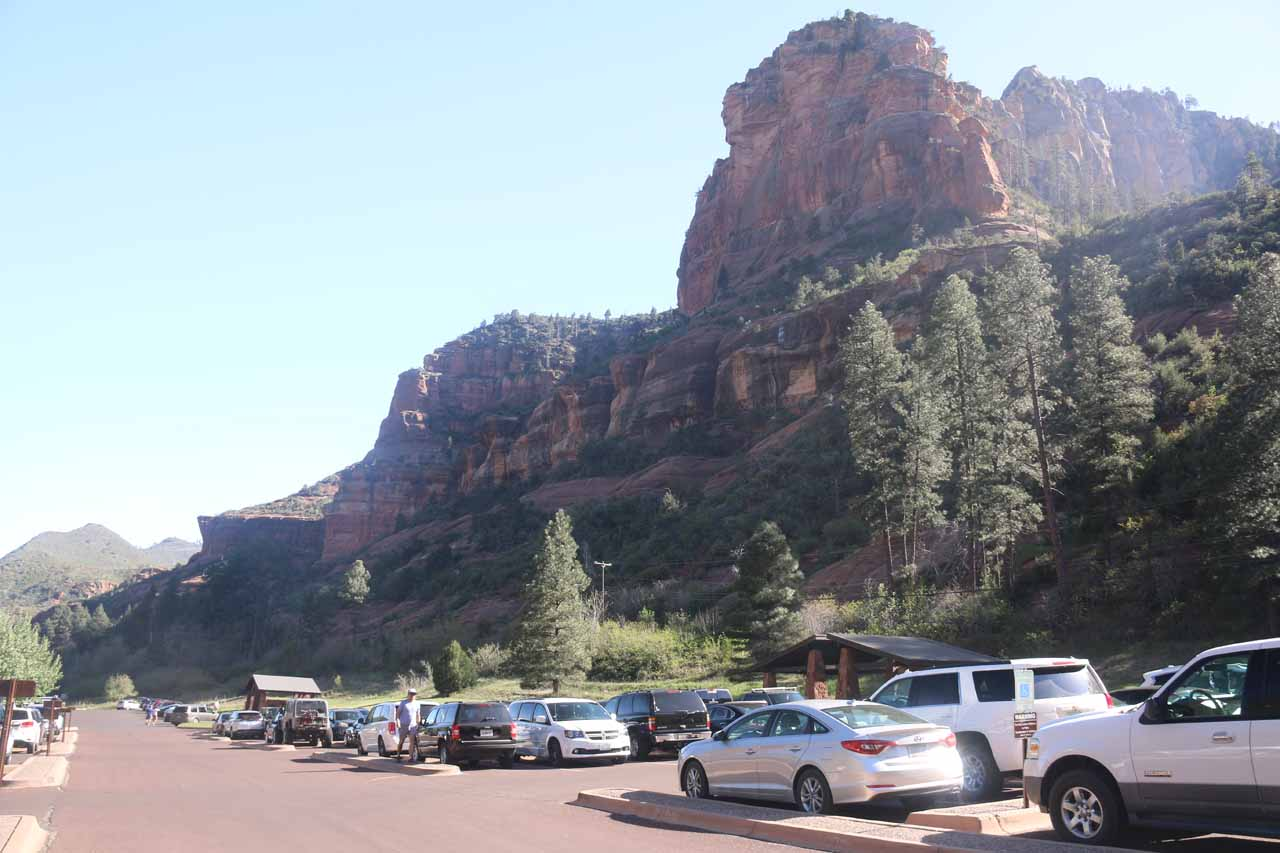 The parking lot at Slide Rock State Park