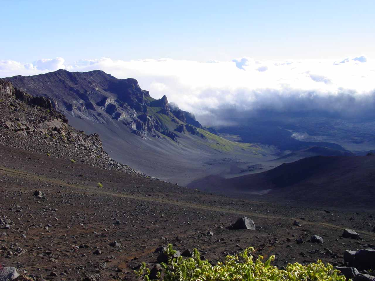 If hiking's your thing, then consider Haleakala National Park's more famous section at the top of Haleakala Volcano, where you can hike into the craters themselves on the Sliding Sands Trail
