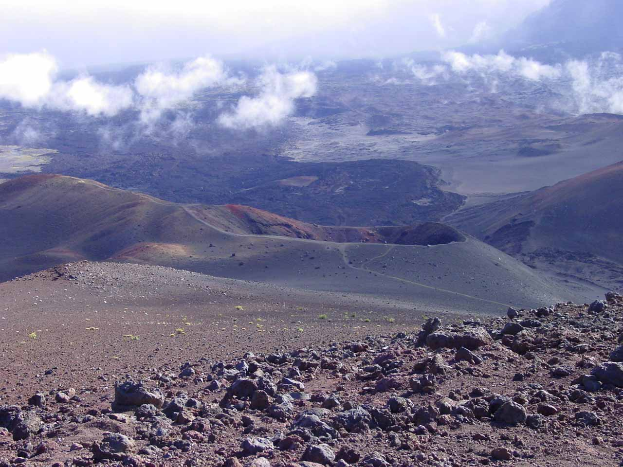 The cratered moonscape of the Haleakala Summit on Maui is the scene of the famous sunrise as well as some otherworldly hiking