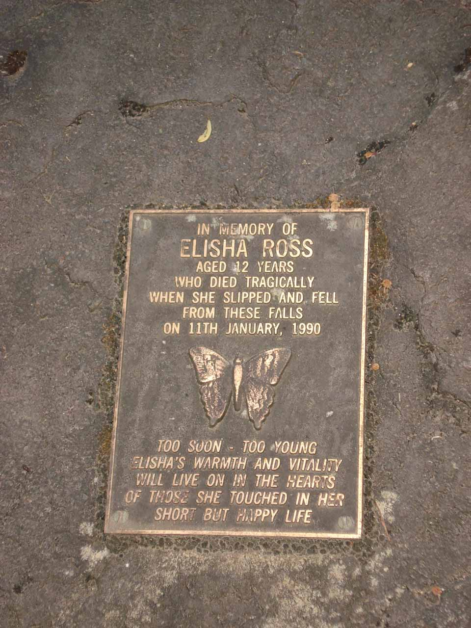 Plaque commemorating a girl who lost her life at Snobs Creek Falls seen in November 2006. Since this was at the now-forbidden part of the track, I didn't notice this plaque on a subsequent visit in November 2017