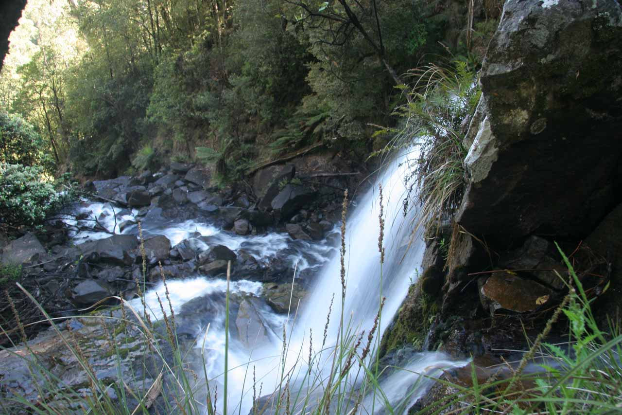 A more downstream view of the Snobs Creek Falls in profile