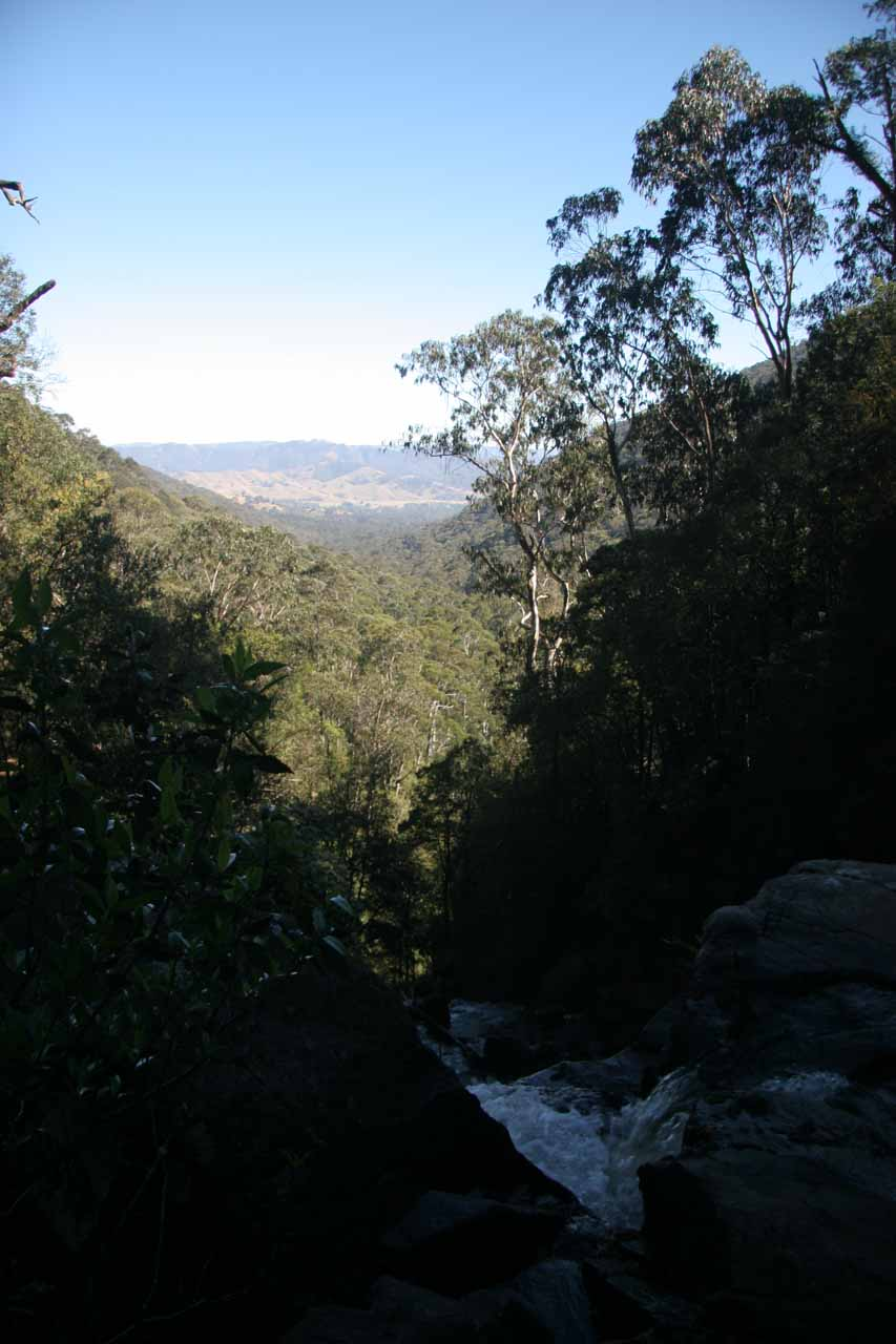 Looking over the top of Snobs Creek Falls towards the valley below