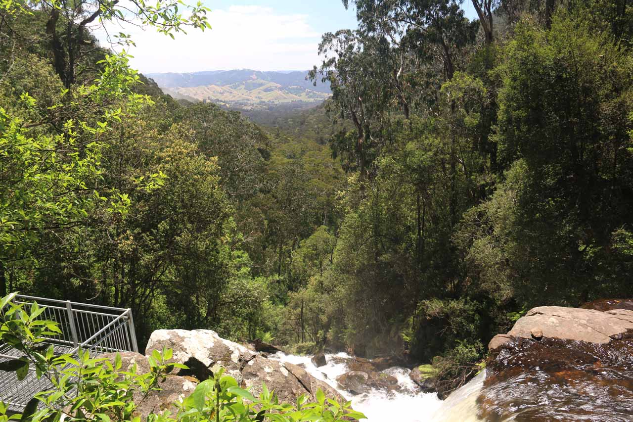 Looking over the top of Snobs Creek Falls towards the Snobs Creek Valley