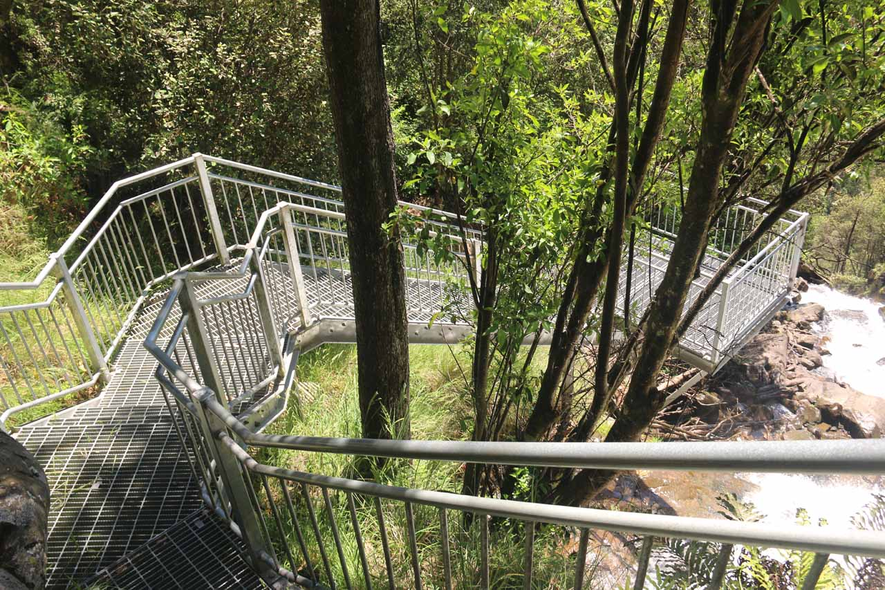 Descending to the lookout platform at the end of the short 100m track fronting the upper drop of Snobs Creek Falls