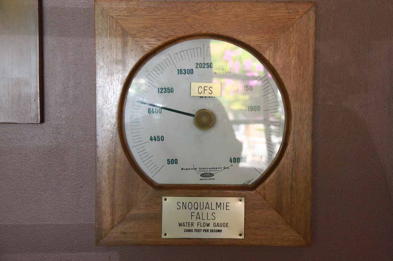 A stream gauge indicator from within Salish Lodge