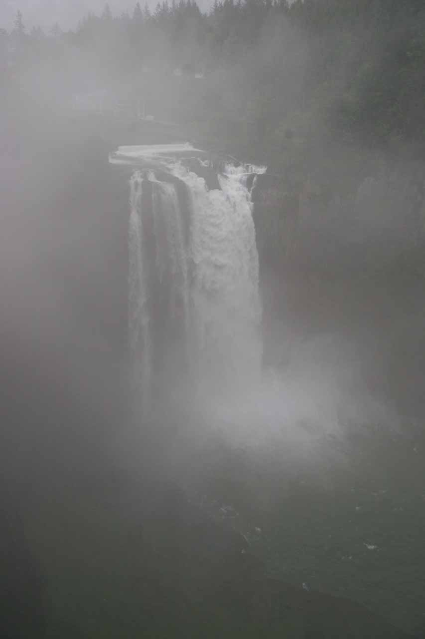 Snoqualmie Falls in its foggy state when we showed up early in the morning