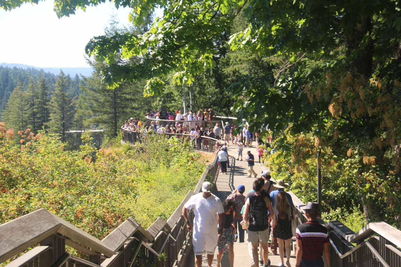 Approaching the very crowded upper viewing decks for the Snoqualmie Falls on a Saturday afternoon in the middle of Summer