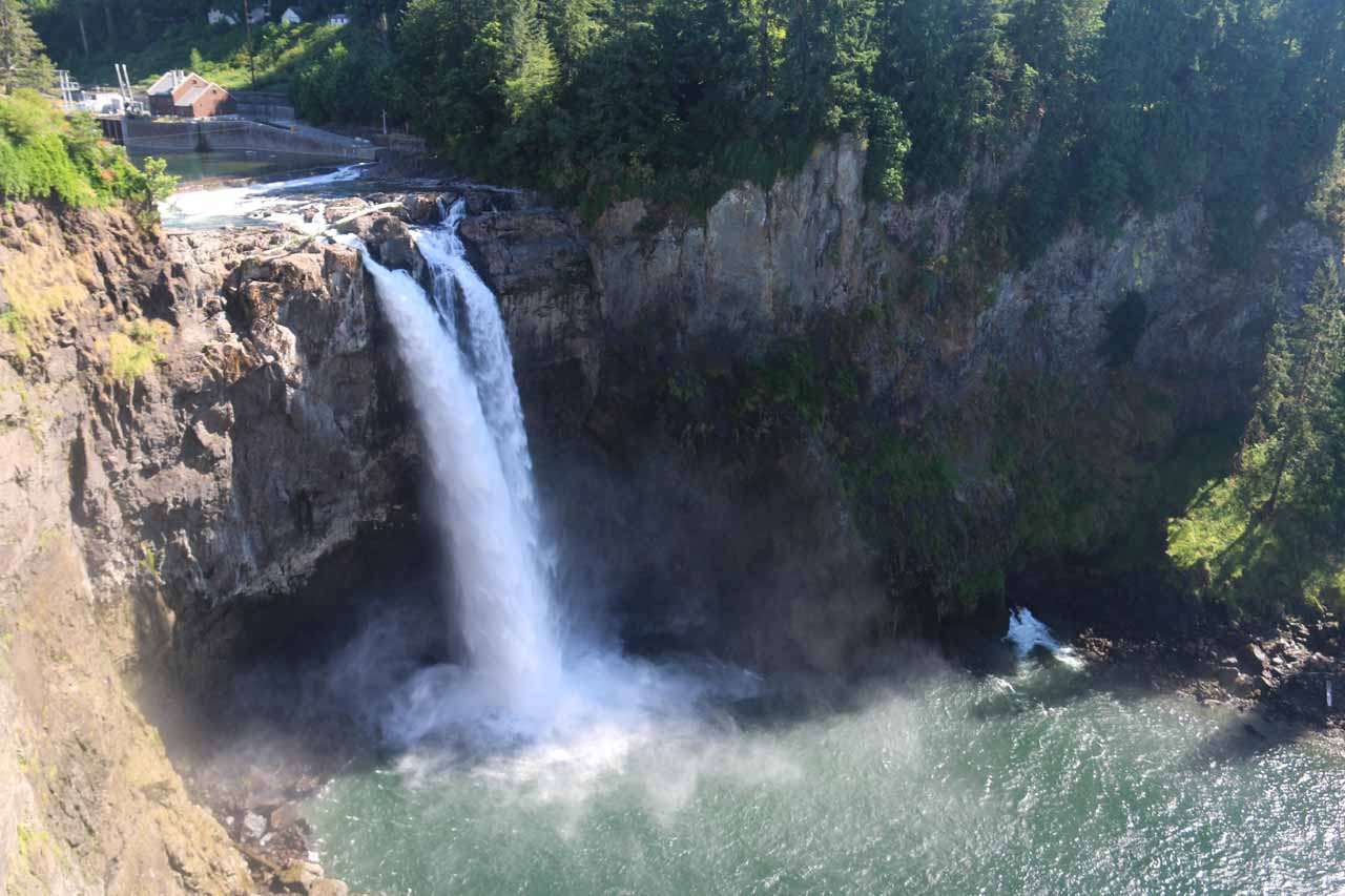 A close-up view of Snoqualmie Falls in 2017