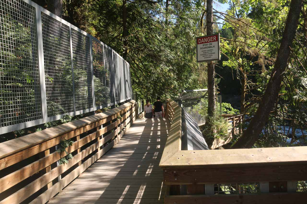 Then, the lower trail followed along this boardwalk towards the view of the base of Snoqualmie Falls