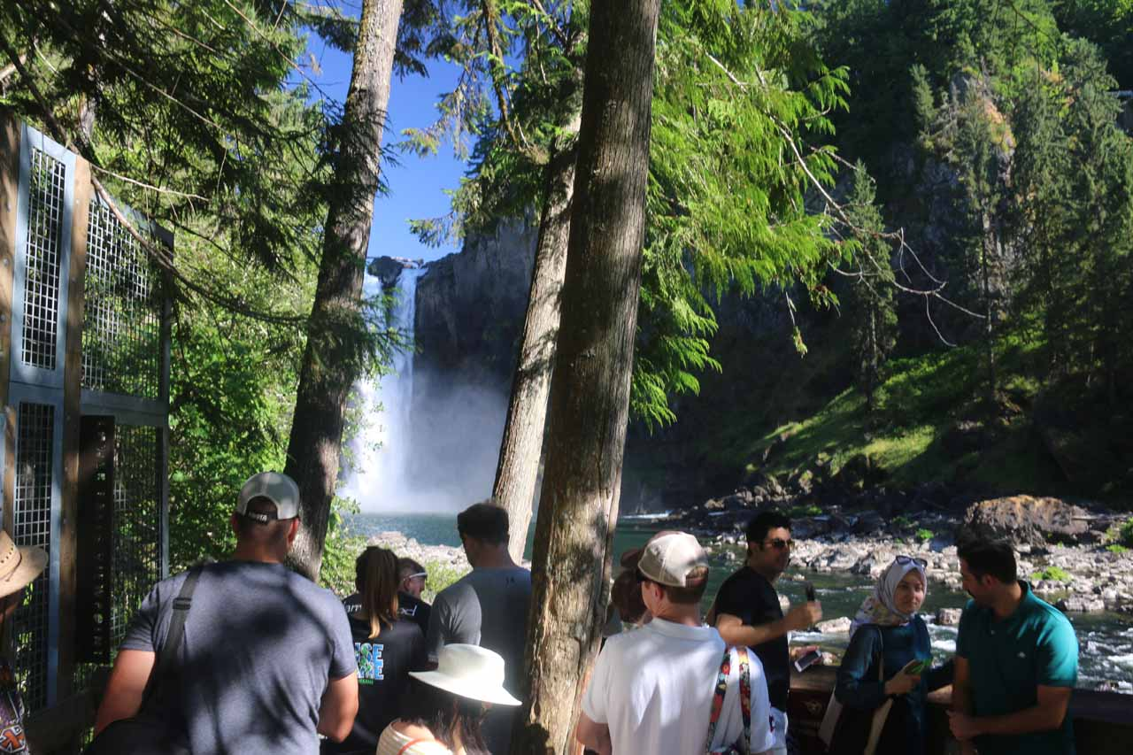 Finally making it to the rather crowded lower lookout for Snoqualmie Falls