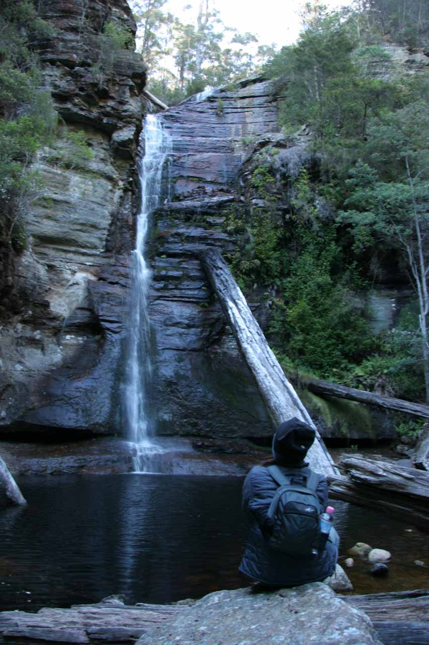 Julie chilling out and checking out Snug Falls during our late November 2006 visit