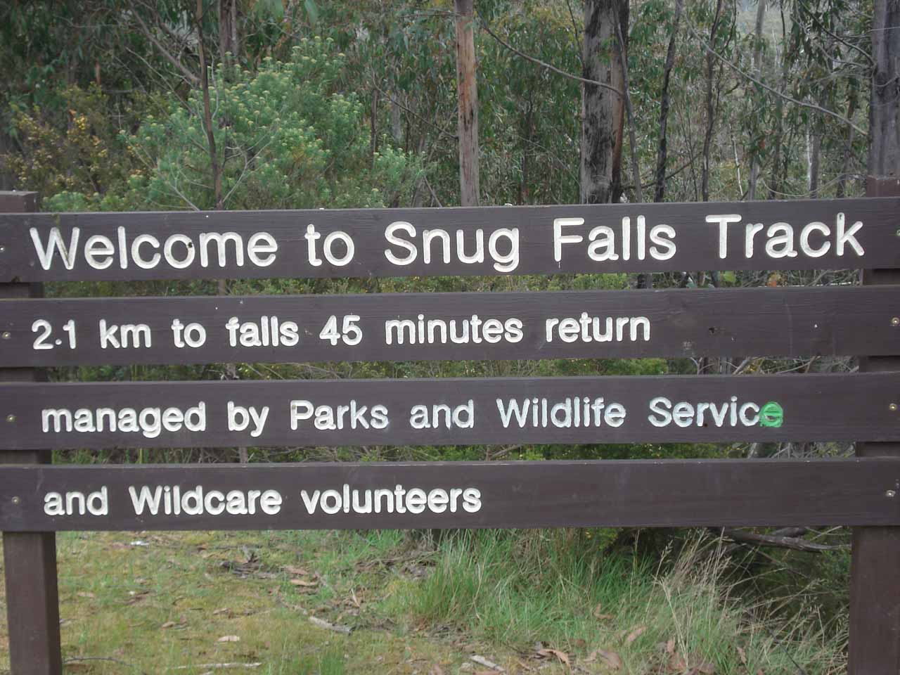 More signage telling us the level of exertion necessary to do this hike to Snug Falls