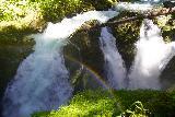 Sol_Duc_Falls_085_06222021 - A rainbow fronting the three segments of Sol Duc Falls