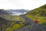 Solheimajokull_006_08072021 - Julie starting to approach the Solheimajokull Glacier