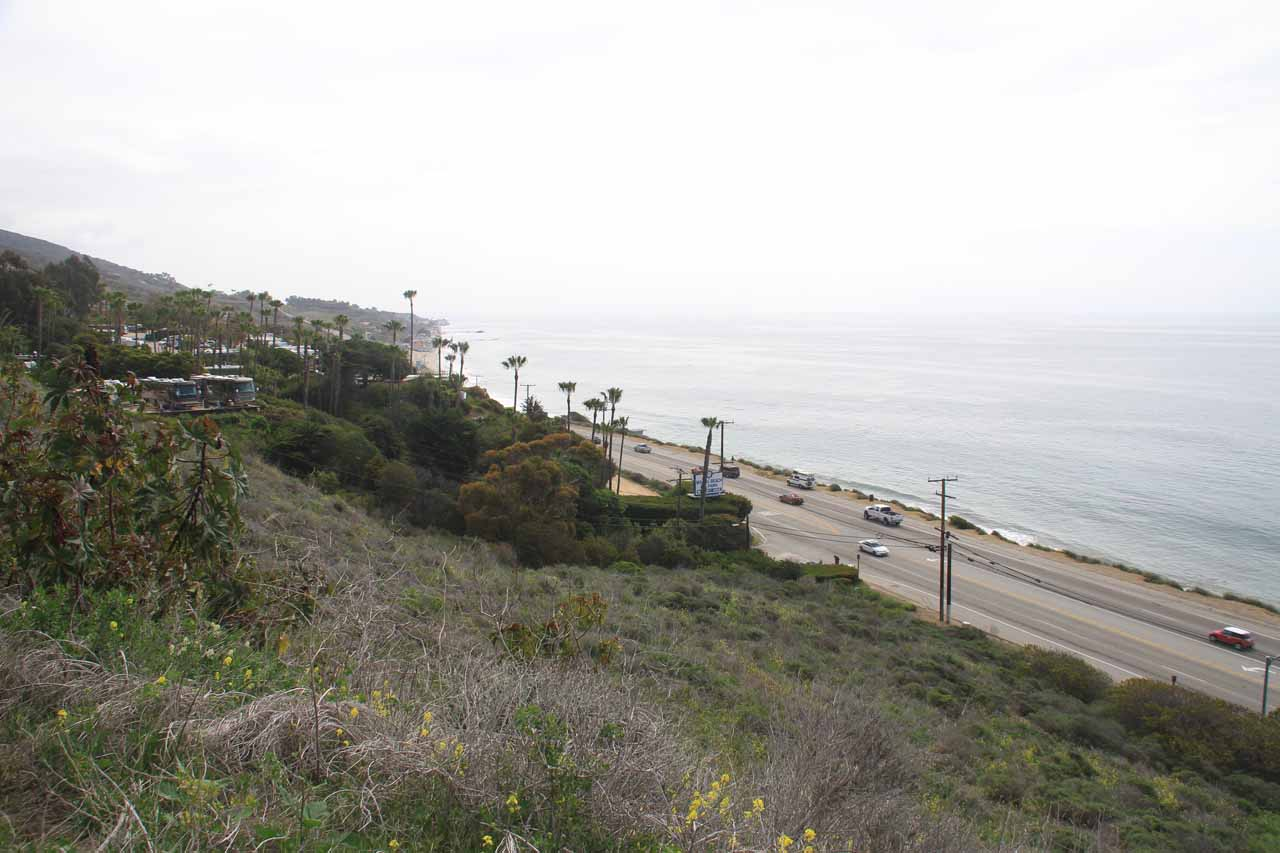 Looking down at PCH from our further-than-usual parking spot