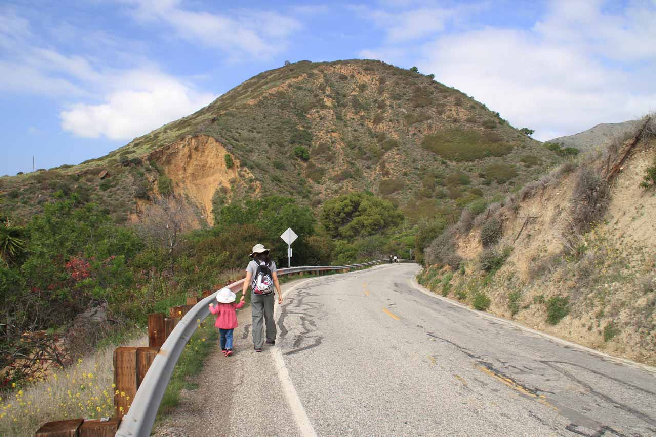 Trying to stay off the road as much as we could as we walked down towards Solstice Canyon