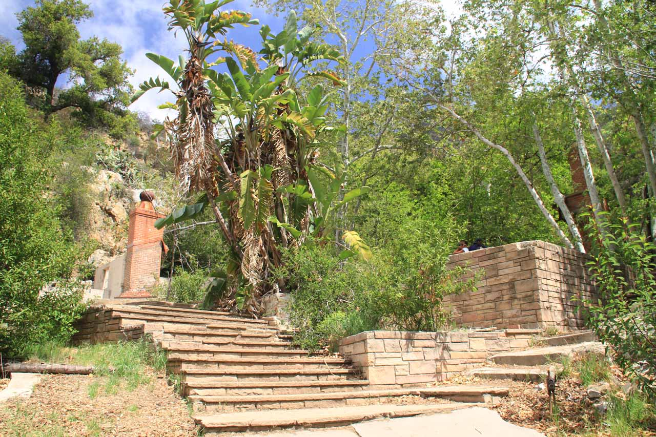 going up a stair-stepped terrace at the Roberts Ranch Home