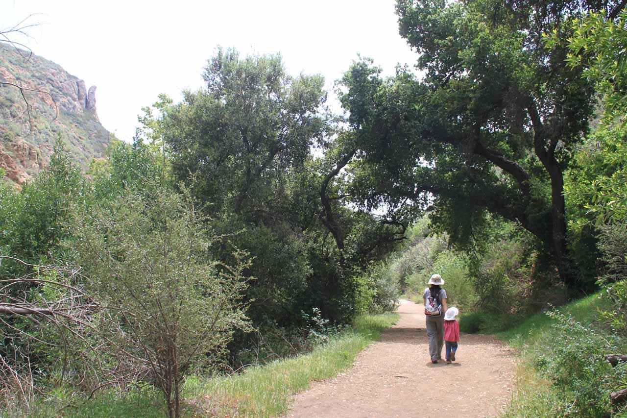 Julie and Tahia walking back towards the trailhead