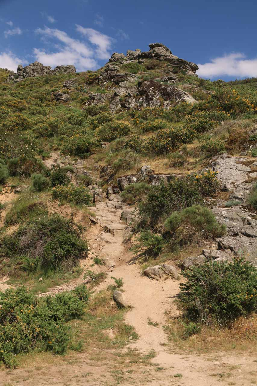 The trail of use that we had to take to get a better look at Cascada de Litueros