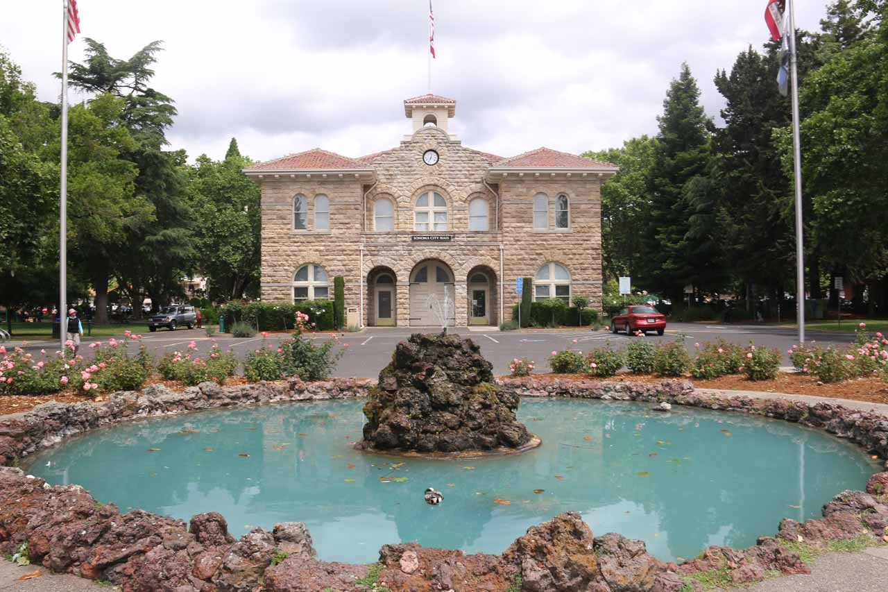 Roughly an hour's drive north of Larkspur was the wine country of Sonoma and Napa Valleys. Shown here is the City Hall in downtown Sonoma, which was a charming little spot