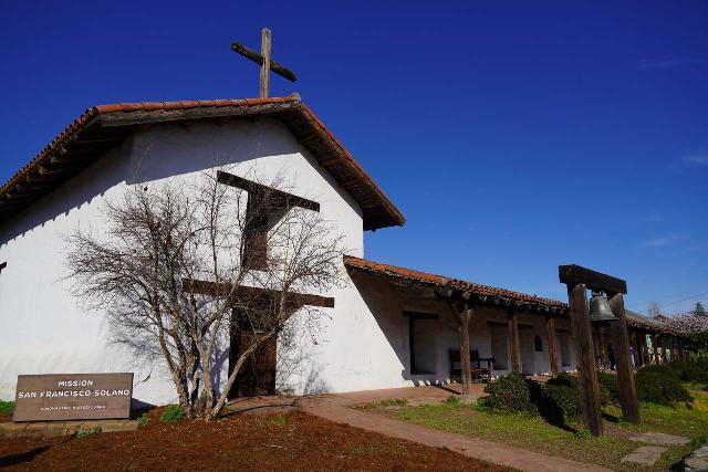 This photo of the Mission San Francisco Solano in Sonoma showed my best example of pincushion distortion exhibited by the 'lean' in the bell's stand on the lower right
