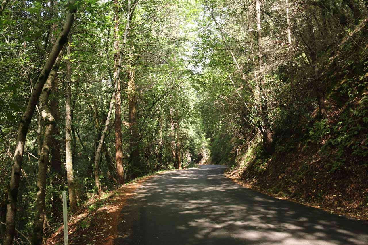 Walking downhill along Adobe Canyon Road
