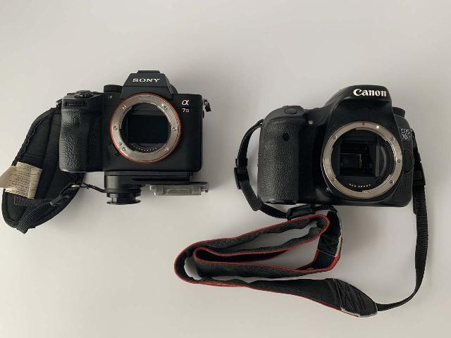 The Sony Alpha A7 III Mirrorless Body (left) versus the incumbent Canon EOS 70D DSLR Body (right). Notice the size difference between their sensors