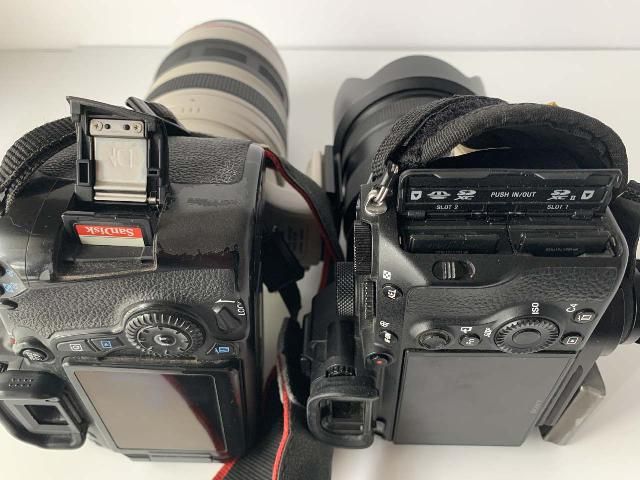 Closer look at the memory slots of the Sony Alpha A7 III Mirrorless Body versus the Canon EOS 70D DSLR Body