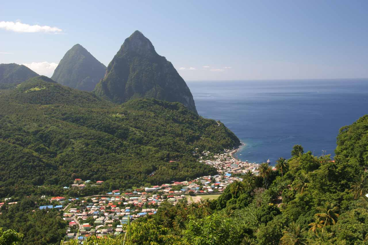 Looking down at Soufriere and the Pitons as we were descending into the town itself on the narrow and steep switchbacking roads