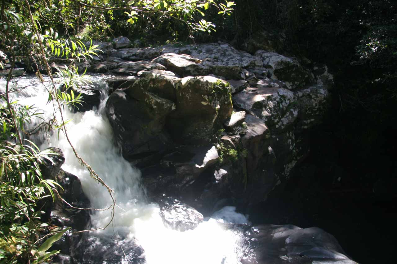 Looking down at the first of the Souita Falls