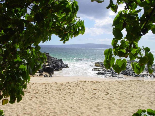 South_Maui_010_09042003 - On the opposite side of East Maui were some fairly hidden and secluded beaches of South Maui like this one pictured here. The island in the background was Kaho'olawe