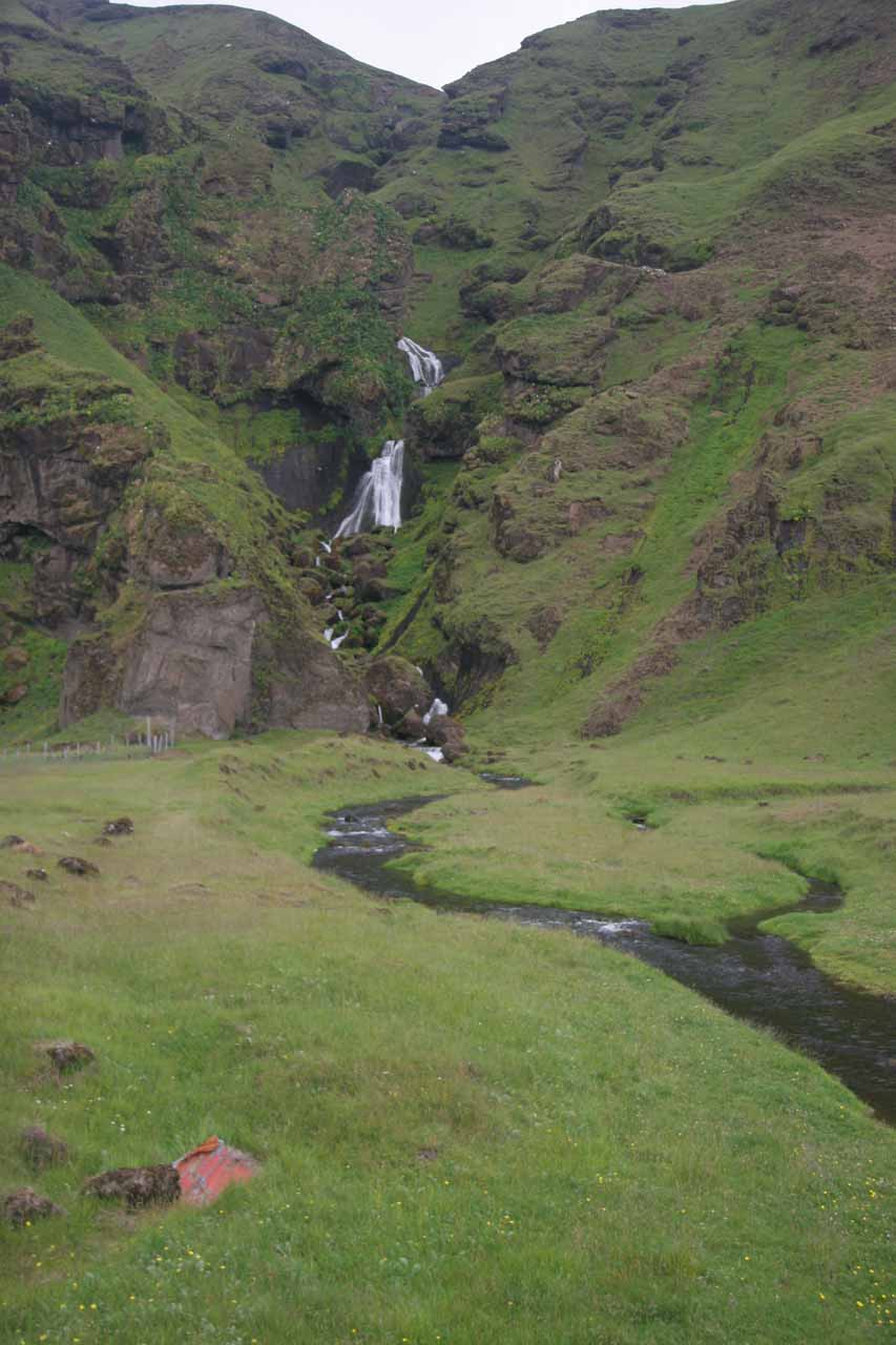 Some obscure waterfall tumbling through a rugged gully somewhere between Klaustur and Vik