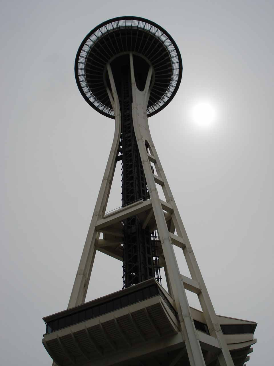 One of Seattle's most iconic landmarks is the Space Needle, which is pictured here from the bottom. I'll leave it up to you to decide if it's worth overpaying to go up