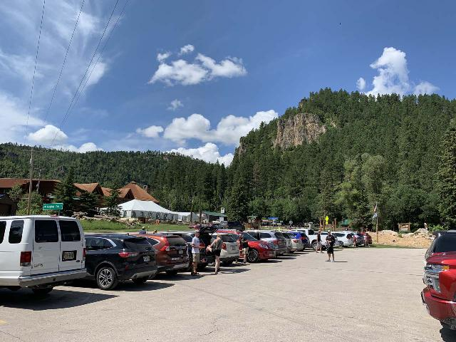Spearfish_Canyon_005_iPhone_07302020 - The busy parking lot for the Latchstring and Spearfish Falls