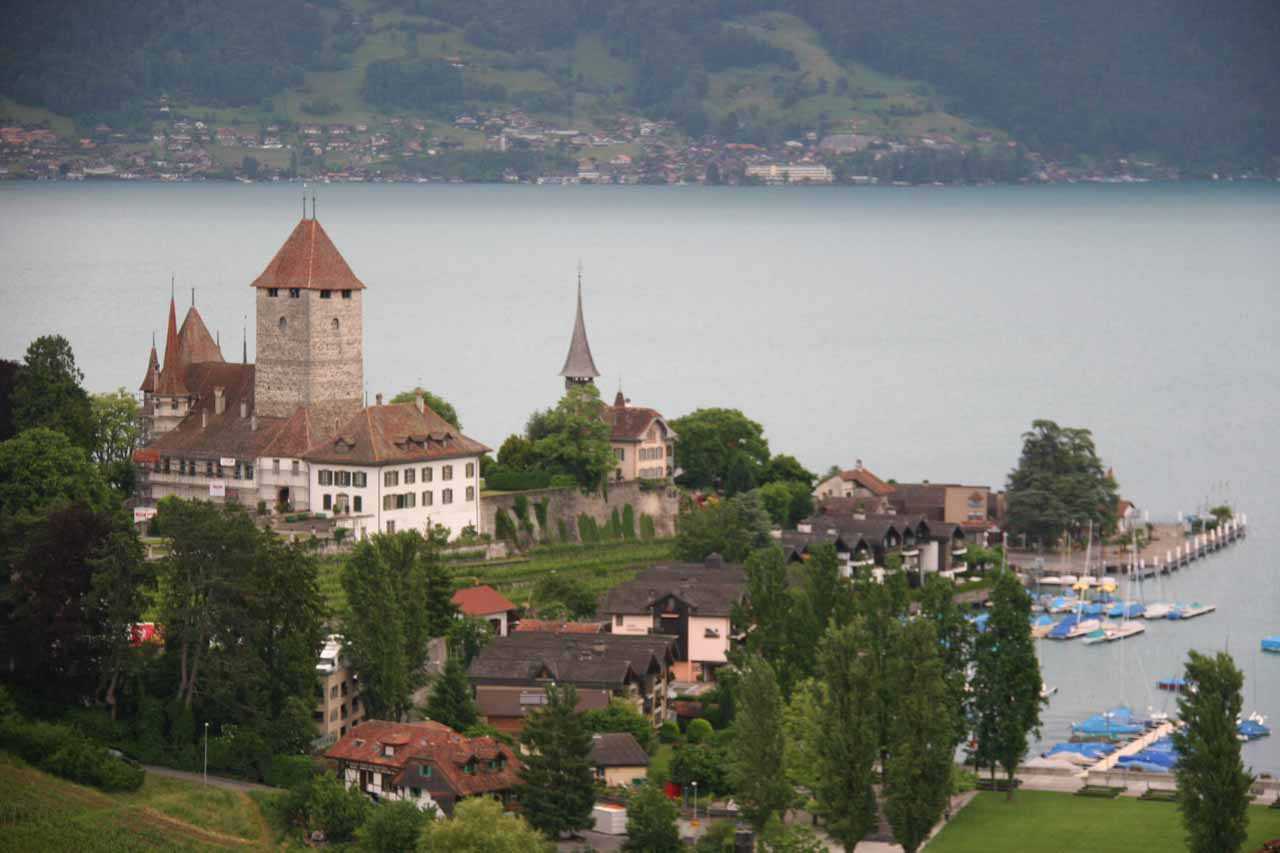 View of Spiez from the train station