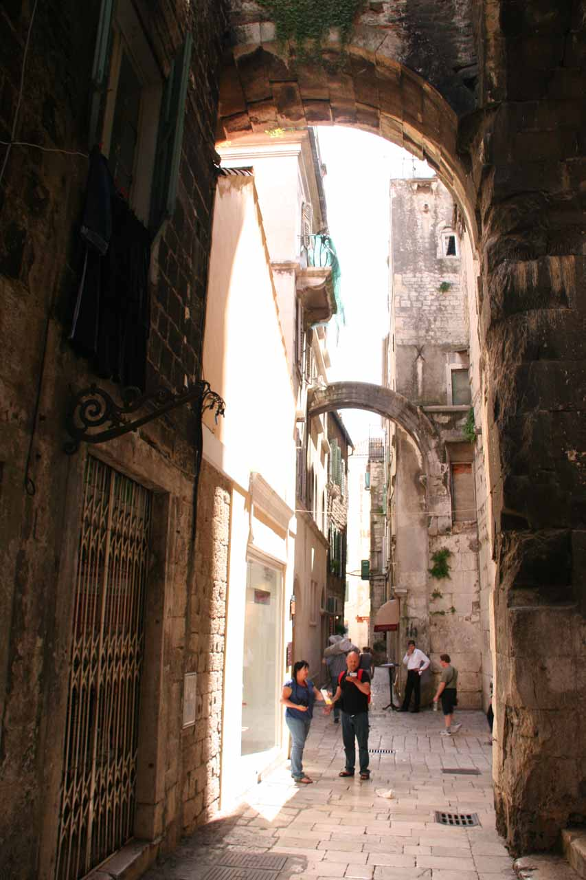 The narrow streets of Split's Old Town