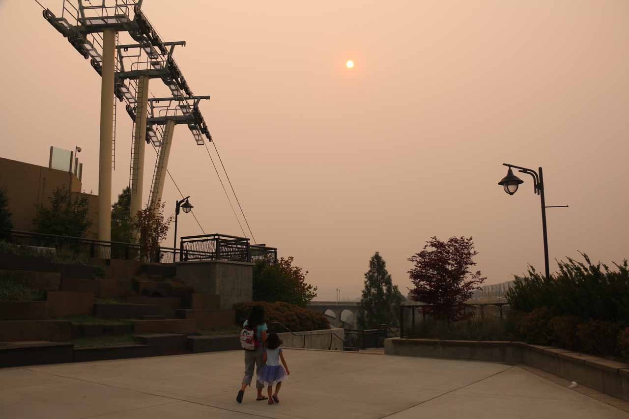 The day we visited Spokane Falls was in the mid 90s and it was thick with smoke from the wildfires in British Columbia. This photo shows the sun against a cable car pylon that I believe belonged to the Skyride gondola
