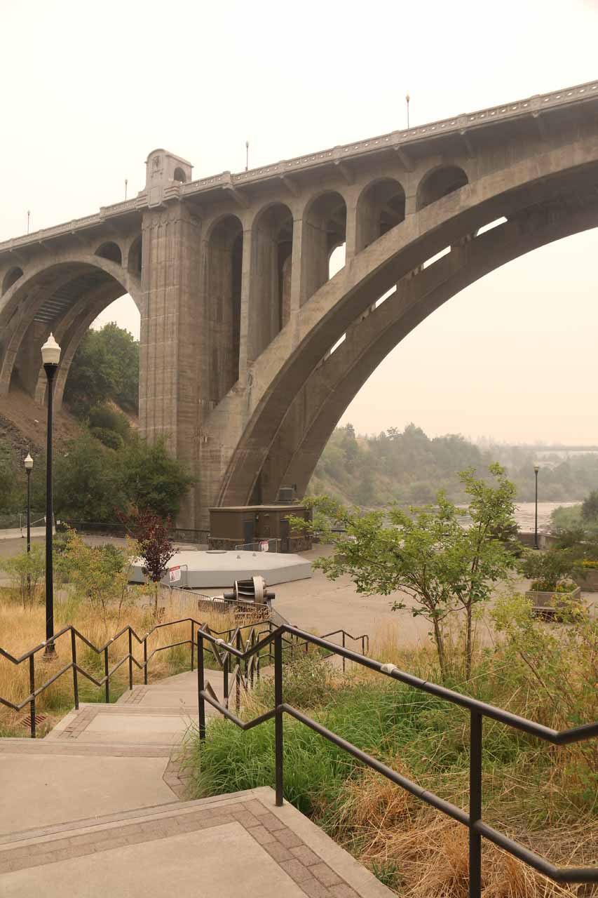 Looking ahead at the Lower Spokane Falls lookout at the foot of the Monroe Street Bridge