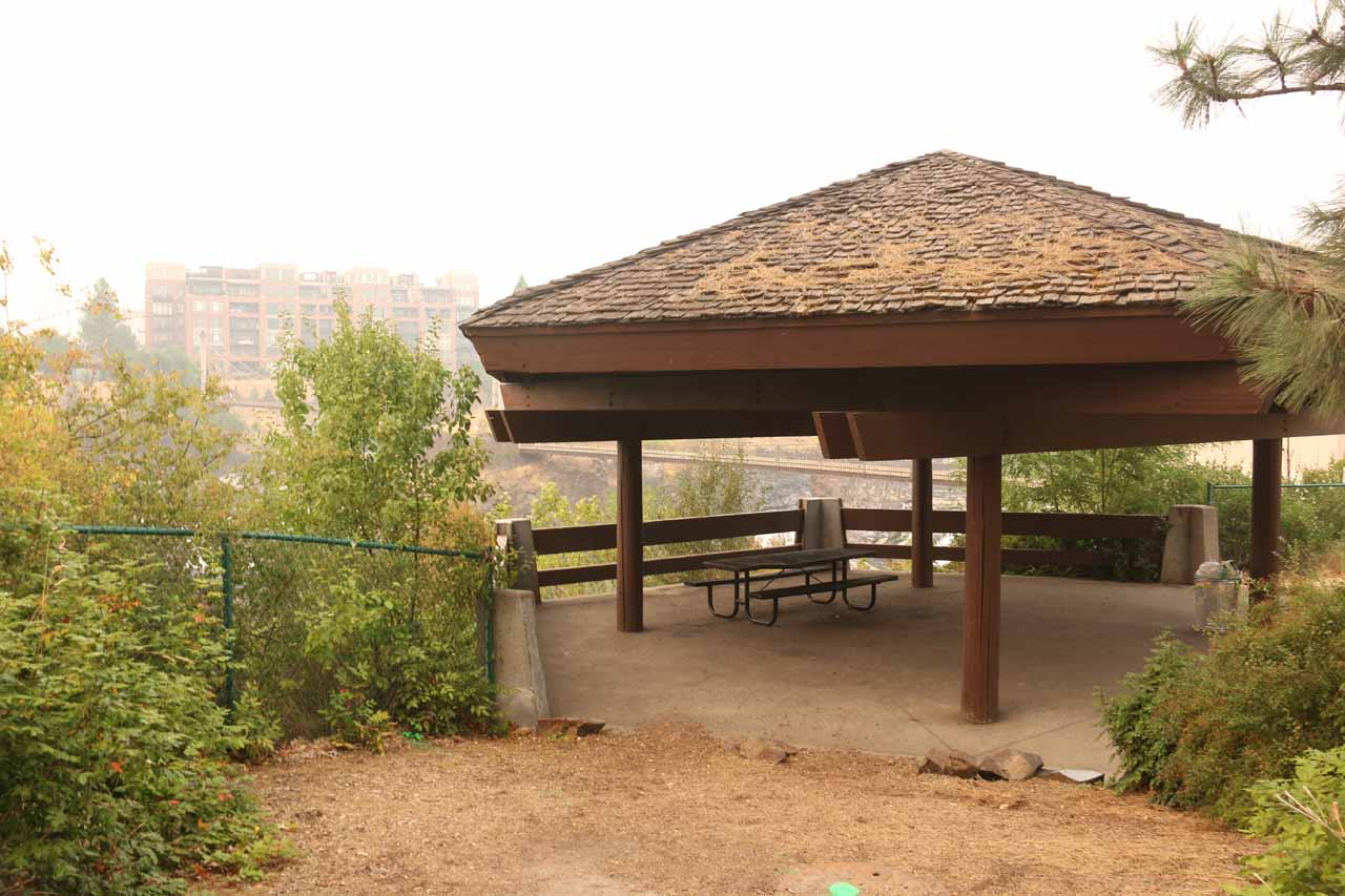 This was the gazeebo with a partial look at the Upper Spokane Falls