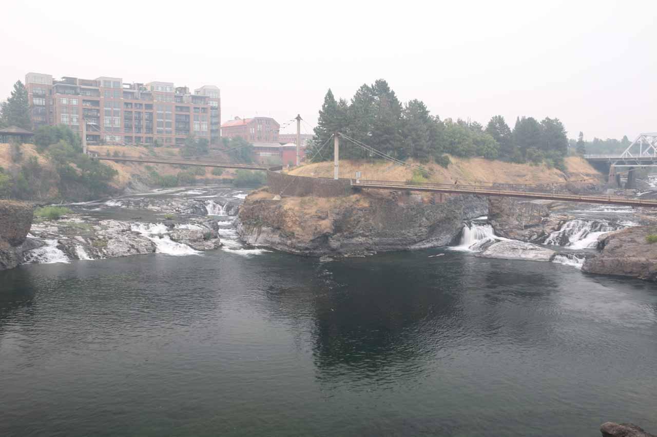 Broad look at the Upper Spokane Falls from the North Post Street Bridge
