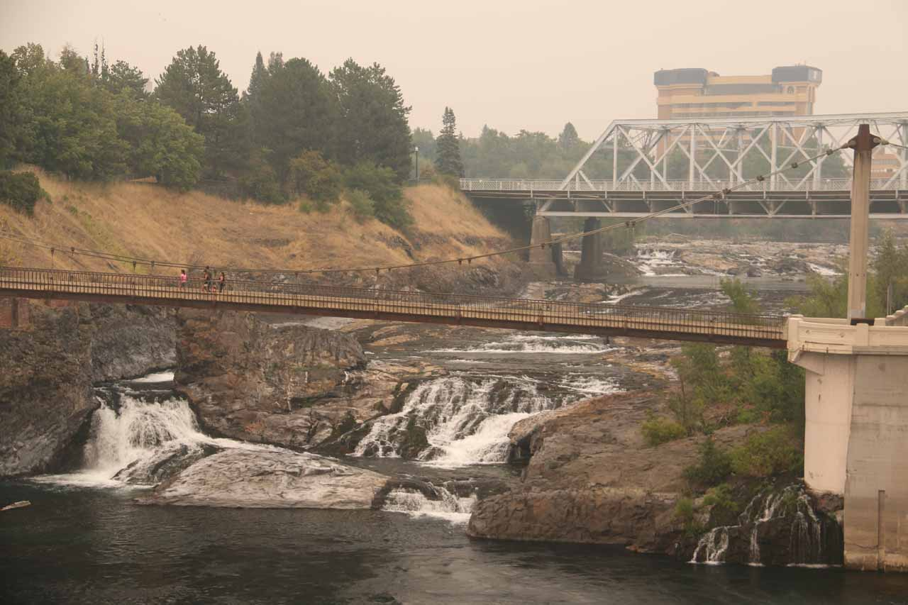 Zoomed in and focused on the right segment of the Upper Spokane Falls